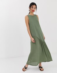 Mango Bias Jersey Dress In Khaki Green