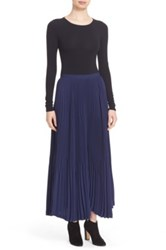 Theory Laire Winslow Crepe Pleat Maxi Skirt Blue