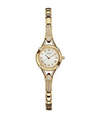 Guess Ladies Goldtone And Crystal Watch