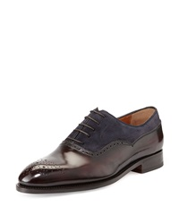 Bontoni Incanto Mixed Media Wing Tip Oxford Navy