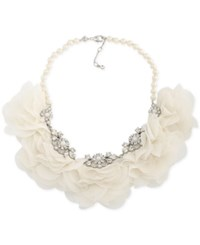 Carolee Silver Tone Crystal And Imitation Pearl Fabric Flower Statement Necklace White