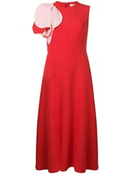 Delpozo Ruffle Shoulder Dress Red