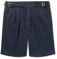 Rubinacci Manny Pleated Stretch Cotton Twill Shorts Navy