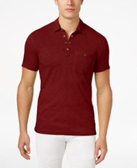 Inc International Concepts Men's Snap Cotton Polo Only At Macy's Chili Pepper
