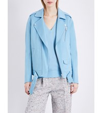 Theory Tralsmin Wool And Cashmere Blend Biker Jacket Ocean Blue