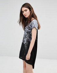 Religion Cage Printed T Shirt Dress Black