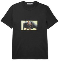 Givenchy Cuban Fit Rottweiler Appliqued Cotton Jersey T Shirt Black