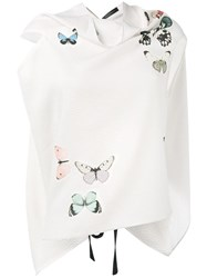 Roland Mouret Butterfly Print Eugene Top White