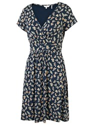 Fat Face Camille Cross Over Butterfly Dress Navy Multi