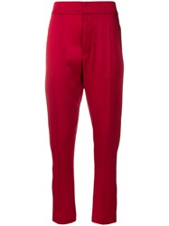 Haider Ackermann Cropped Sateen Trousers Red