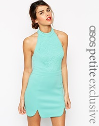Asos Petite Premium Bodycon Dress In Scuba With High Neck And Cut Work Mint