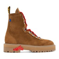 Off White Brown Hiking Boots