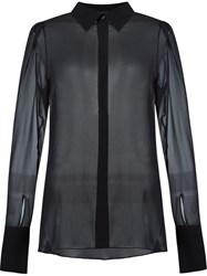 Giuliana Romanno Longsleeved Classic Collar Shirt Black