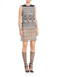 Giambattista Valli Tweed Macrame Shift Dress Ivory