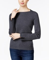 Armani Exchange Square Neck Split Sleeve Sweater Solid Dark