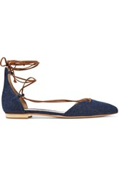 Schutz Toor Lace Up Denim Point Toe Flats Us10 Unknown