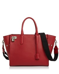 Zadig And Voltaire Muse Leather Satchel Rouge Red Silver