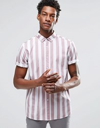 Asos Shirt With Breton Stripe In Dusty Pink With Short Sleeves In Regular Fit Pink