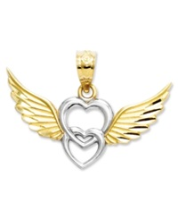 Macy's 14K Gold And Sterling Silver Charm Heart With Wings Charm