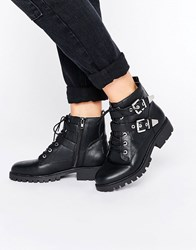 London Rebel Metal Trim Biker Boots Black Pu