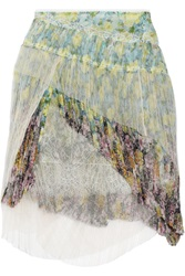 Nina Ricci Layered Silk Chiffon Lace And Tulle Mini Skirt Yellow