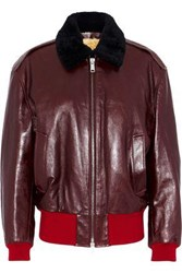Calvin Klein 205W39nyc Shearling Lined Leather Bomber Jacket Multicolor