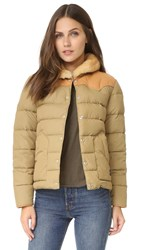 Penfield Rockwool Leather Yoke Down Jacket Tan