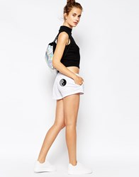 The Ragged Priest Jersey Drawstring Sports Short With Patch Appliques White