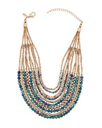 Emily And Ashley Multi Strand Blue Golden Beaded Necklace
