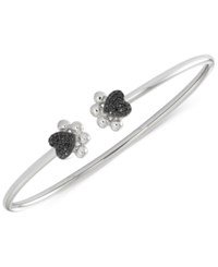 Wrapped Black Diamond Heart Paws Bangle Bracelet 1 6 Ct. T.W. In Sterling Silver