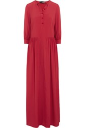 Love Moschino Velvet Trimmed Stretch Crepe Maxi Dress Red