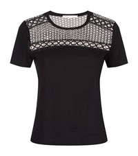 Maje Toby Eyelet Lace T Shirt Female Grey