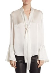 Saks Fifth Avenue Collection Flare Sleeve Neck Tie Blouse Ivory Cherry