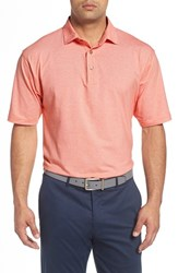 Bobby Jones Men's 'Liquid Cotton Skyline' Stripe Jersey Golf Polo Orange Tango