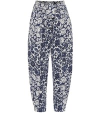 Ulla Johnson Storm Floral High Rise Carrot Jeans Blue