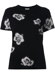 Saint Laurent Glitter Effect Floral Jersey Black