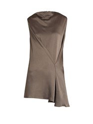 Raey Stitch Front Satin Top Grey