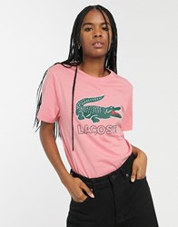Lacoste T Shirt With Retro Croc Logo Pink