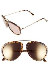 Men's Tom Ford 'Stacy' 57Mm Aviator Sunglasses Blonde Havana Gradient