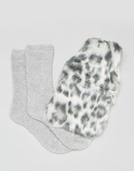 New Look Leopard Hot Water Bottle And Fluffy Sock Gift Set Grey