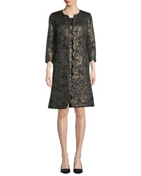 Albert Nipon Two Piece Metallic Dress And Topper Set Black Gold