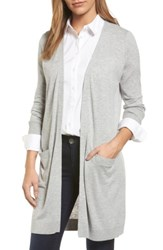 Halogenr Women's Halogen Long Open Front Cardigan Heather Grey