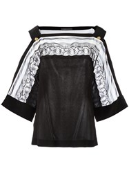 Alberta Ferretti Lace Detail Blouse Black