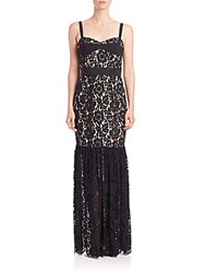 Milly Dahlia Floral Lace Bustier Gown Black Nude