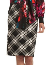 Trina Turk Crissy 2 Plaid Pencil Skirt Black White