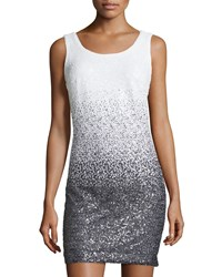 Maia Ombre Sequined Sleeveless Dress Black White