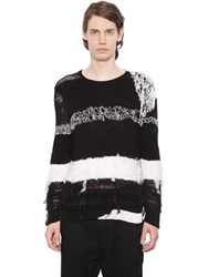 Ann Demeulemeester Intarsia Stripes Silk And Cotton Sweater