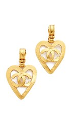 Wgaca What Goes Around Comes Around Chanel Cc On Heart Clip On Earrings Previously Owned Yellow Gold