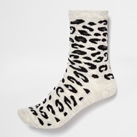River Island Womens Light Grey Leopard Print Ankle Socks