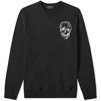 Alexander Mcqueen Skull Embroidered Crew Sweat Black